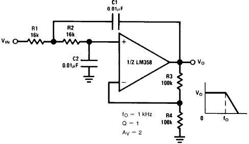 计算一个低通rc有源滤波器电路参数值图片
