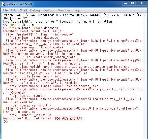 python3 4 sklearn使用使用报错ImportError: DLL load failed: 找不到