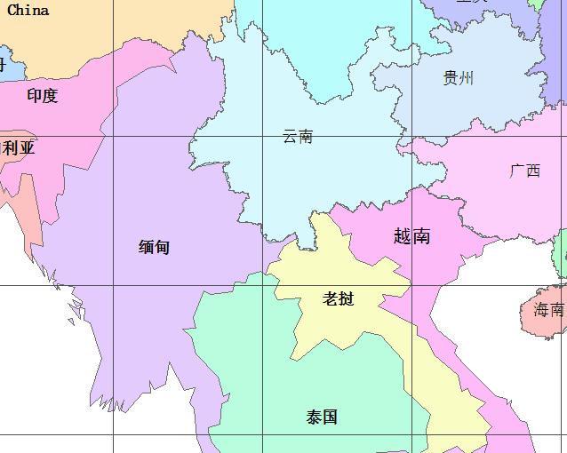 求云南边界地图