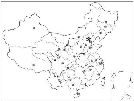 求无字的空白中国地图 要大&清晰有省会的位置还有长江黄河
