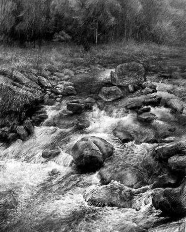 素描 水的画法 最好有图图片