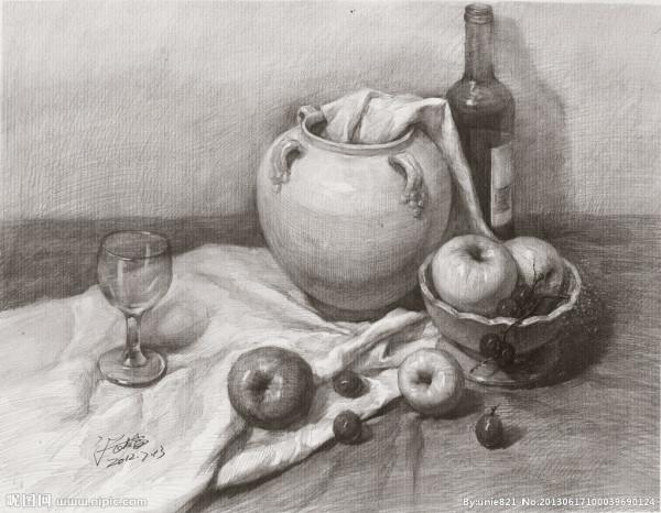 静物素描罐子_关于。罐子。水杯。醋瓶小西红柿的素描画。._百度知道