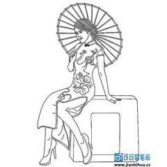 旗袍怎么画简笔画最漂亮的画法最大