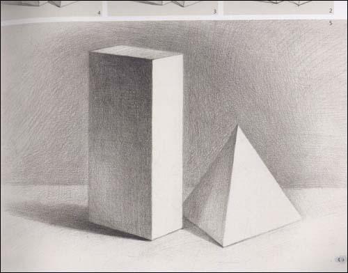 三棱柱素描图片_素描静物三棱椎套长方体_百度知道