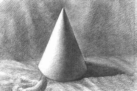 术网的圆锥体和长方体素描图图片
