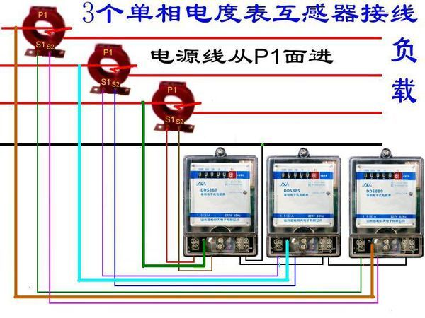 三相四线互感电表_三个单相电子式电能表外接电流互感器的接线图。_百度知道