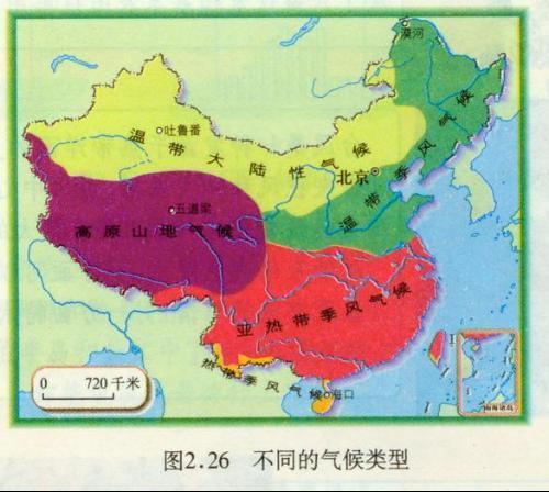 中国主要气候类型分布图