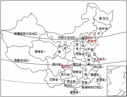 在空白的中国行政区划图中填入至少26个省级行政区的名称