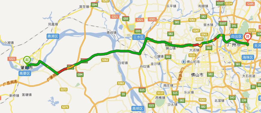 肇慶到廣州廣利路自駕行走廣昆高速公路,二廣高速廣州支線,全程103圖片