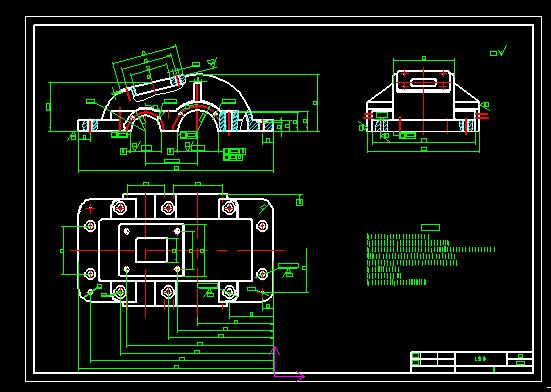 二级减速器箱体cad_跪求一级圆柱齿轮减速器箱盖,箱体的CAD零件图 874362851_百度知道
