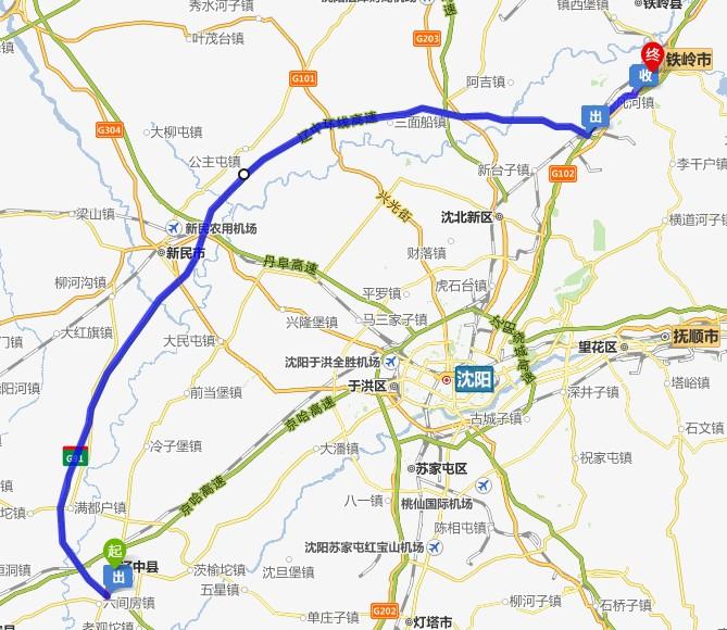 沈阳辽中区地图