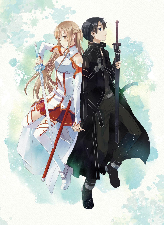 桐人和亚丝娜动态图_求一张桐人与亚丝娜两个人的剑交叉起来的高清大图!! 还要一 ...
