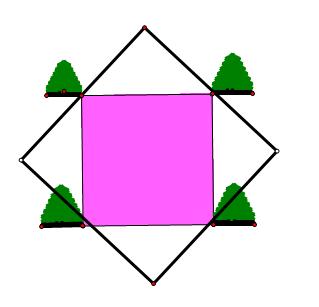 有一个正方形池塘四个点都有一颗树,你可以不移动这四棵树你可以将池塘放大两倍吗