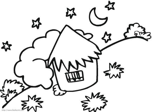 夜晚的星星简笔画 七月亮