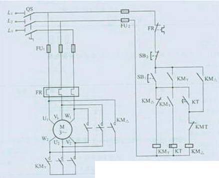 三相异步电动机y 三角形降压启动的电路图图片