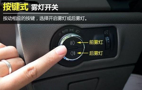汽车的 前雾灯开关 后雾灯开关 还有雨刷 分别都在方向盘后面的操作杆
