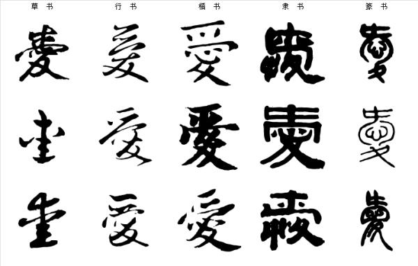 边字的繁体草书_爱字的篆书,隶书,楷书,草书是什么样的_百度知道