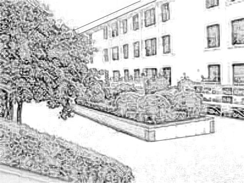 哪里有校园一角的简笔画