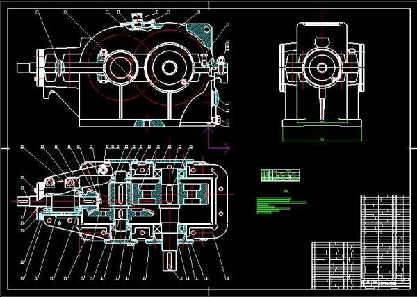 二级减速器箱体cad_跪求二级圆锥圆柱齿轮减速器装配图~~在线等~~~ 邮箱yuanna093@126.com ...