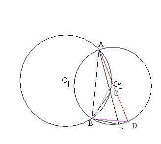 如图 圆o2与半圆o1_如图,已知圆O1经过圆O2的圆心O2,且与圆O2相交于A,B两点,点C为圆弧 ...