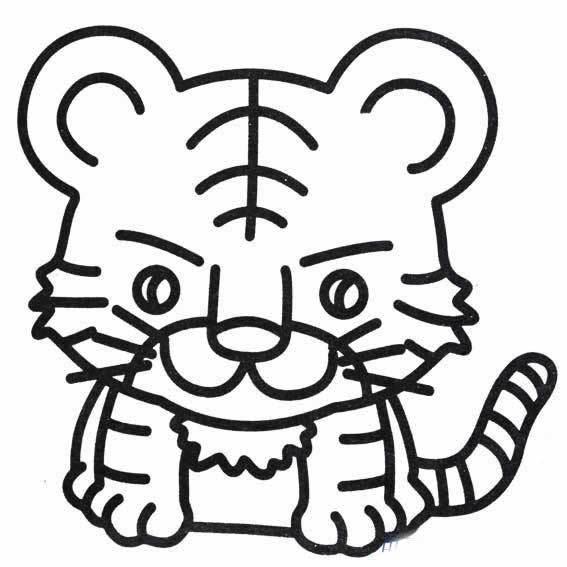 幼儿园大班小朋友学老虎简笔画图片,可爱简笔画小老虎,幼儿动物简笔画大全,适合幼儿园大班学画的动物简笔画小老虎的简单画法.