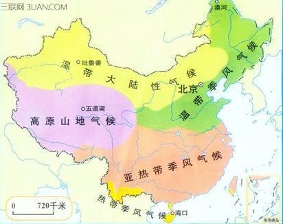 中国各个省的气候类型分布插图