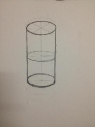 帮忙看看这个圆柱体结构和透视合不合格 初学者今天第一天画圆柱体,图片