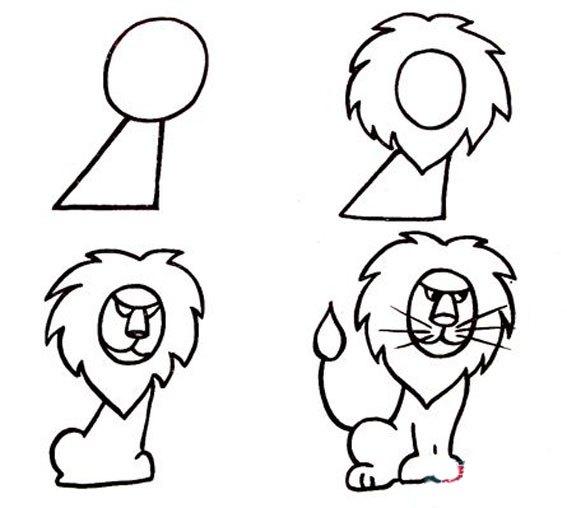 教你学画画,动物简笔画,野生动物简笔画,狮子的简单画汉,狮子简笔画,狮子简笔画分解图片.