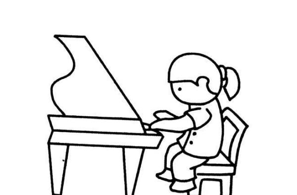 以一个男孩弹钢琴为主题的一幅幼儿简笔画