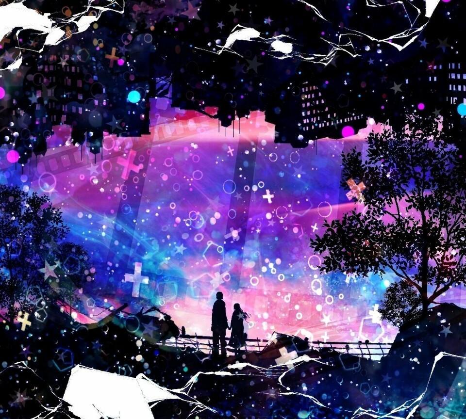 Manga Images D N A Miyuki Wallpaper And Background: 求一张一个人或两个人看着月亮或者星空的头像。动漫_百度知道
