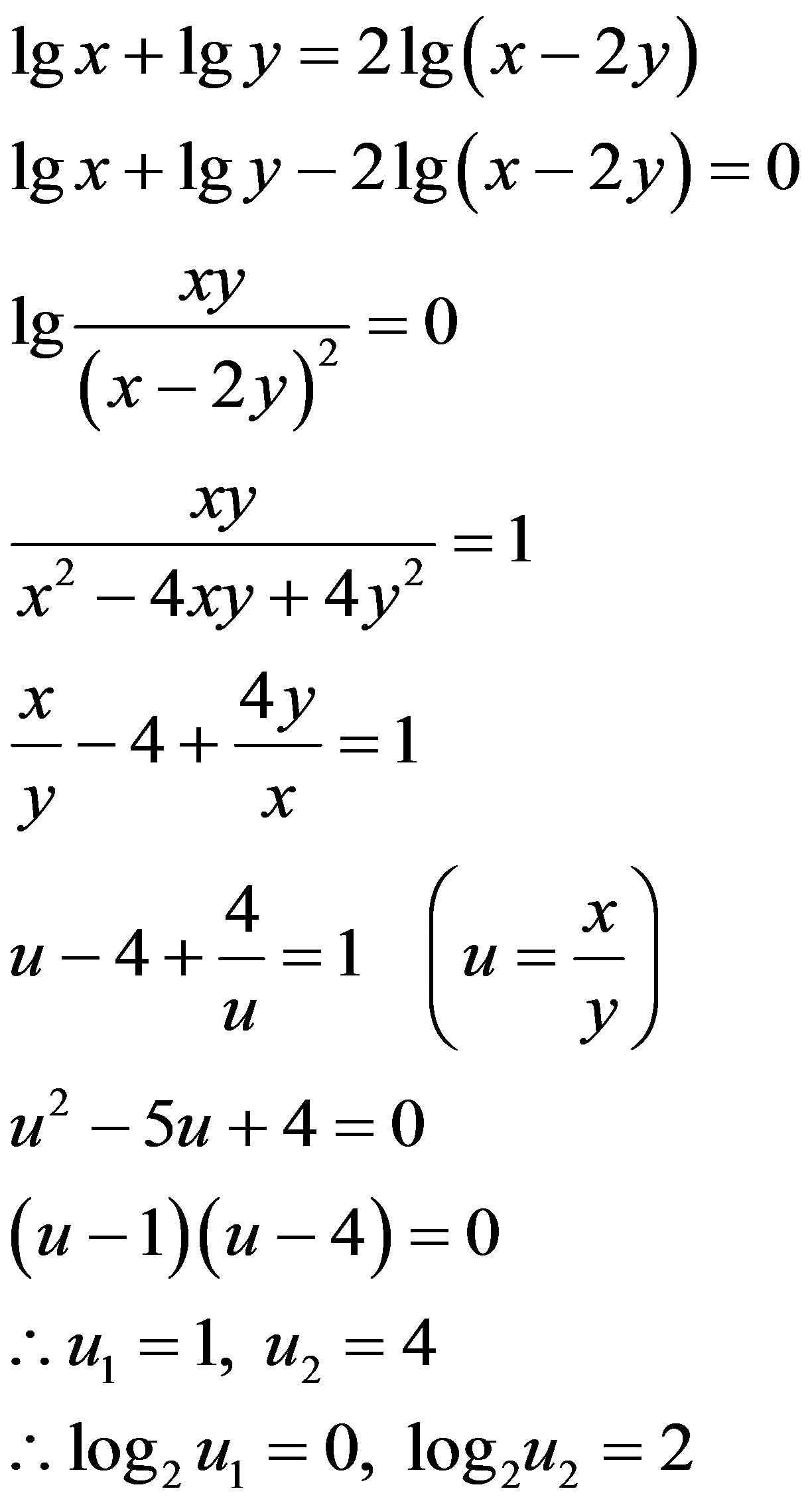 ㏒10(x)+㏒10(y)=2㏒10(x-2y)。求以根号2为底,x/y的对数_百度知道