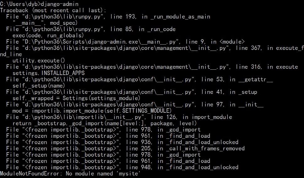 在执行django-admin时,总是抛出错误ModuleNotFoundError: No module