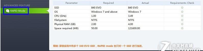 三星EVO 120G SSD Samsung Magician 找不到RAPID Mode选项,求高手,谢谢