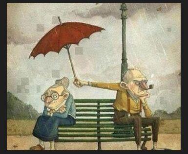 男女吵架下雨的图片_一对爷爷奶奶下雨天吵架了背靠背爷爷还给奶奶打伞的动漫图片 ...