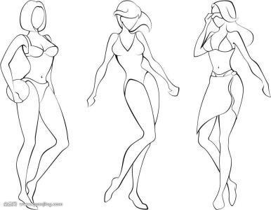 人物简笔画素描图片女站姿态