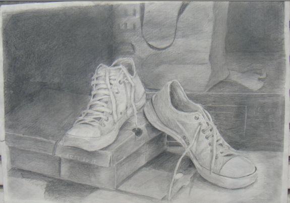 样才能画好鞋靴素描图片