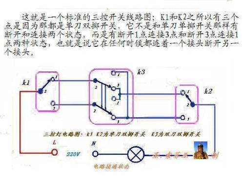 单刀双控开关接线方法和接线图