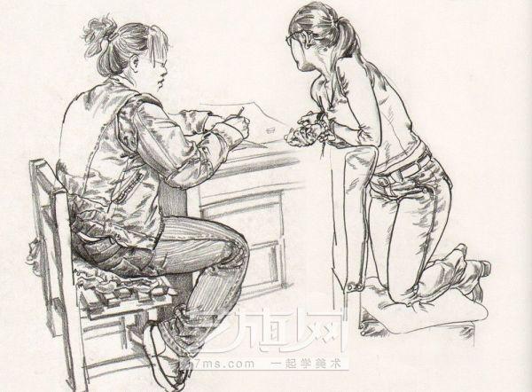 找一副人物场景速写 画里的内容要一个人坐在桌子旁上等人一样 图片