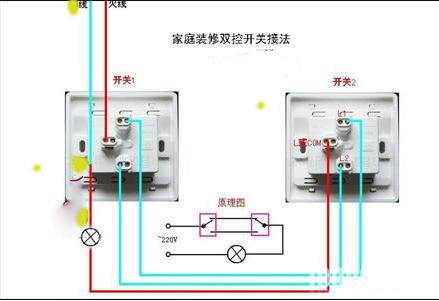电灯单控开关接线图_单灯双控开关线路怎么接一个门口一个床头有实物图_百度知道