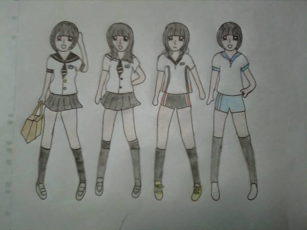好看的校服设计 求手绘图 裙子裤子都行 男女更好