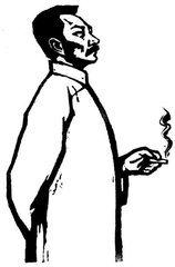 怎么画人在吸烟时候的状态,简笔画