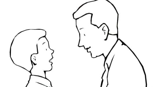 请问可不可以帮我画一幅简笔画,内容是有两个男人坐一起,画两男人的侧面,黑白色就可以了,我要人的轮廓