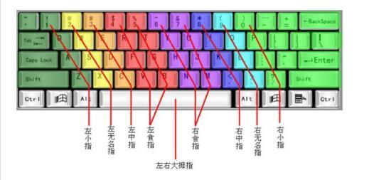 数字键盘手指分布图_新手学电脑打字,手应放在键盘哪几个键上_百度知道