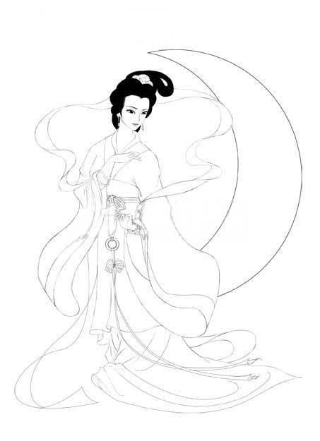 谁有嫦娥奔月的简笔画 教教我吧 画在手抄报上的 抱着玉兔 我月亮画在啦右上角想把嫦娥画在左下角 不会画呀