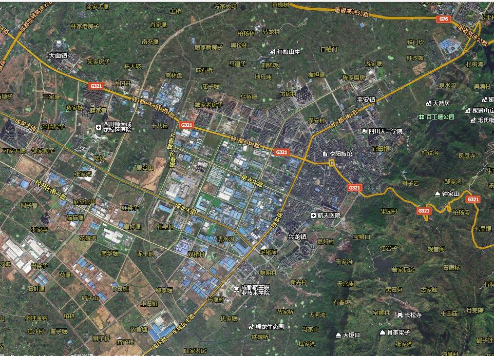 成都龙泉卫星地图