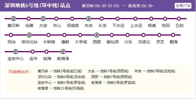 环中线运营时间_深圳市地铁5号线第一班车是几点开?_百度知道