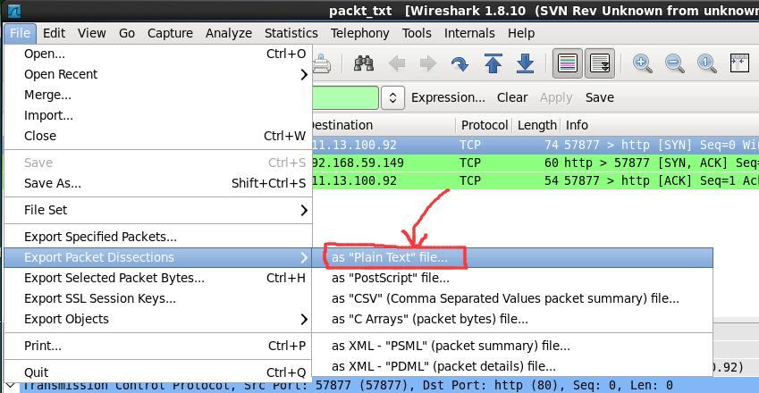 wireshark 如何保存数据包为抓包文件导出为文本文件_百度知道