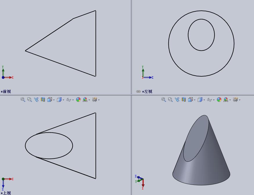 截切圆柱的三面投影
