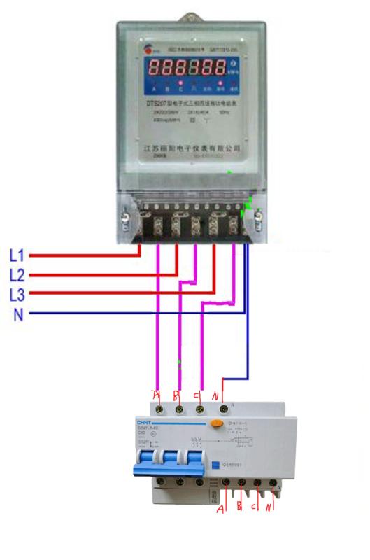 三相四线互感电表_三相四线的漏电断路器该怎么接?_百度知道