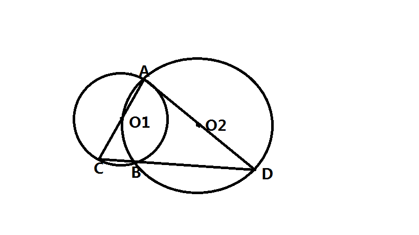 如图 圆o2与半圆o1_如图,已知圆O1与圆O2相交于点A,B,点O1在圆O2上,AC是圆O1的直径,CB的 ...